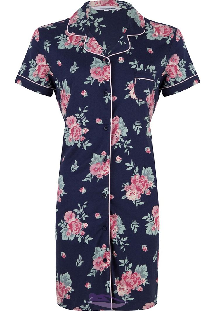 Pastunette dark blue short sleeve nightdress with a 'romantic pink rose' and full buttons - http://www.pyjama-direct.nl/en/brands/pastunette