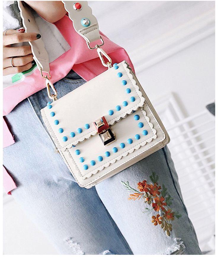 Korean version PUfashion bag (creamy-white)NHTC0575