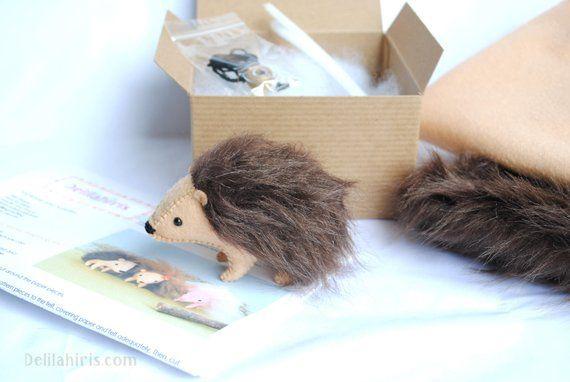 Stuffed Hedgehog Felt Animal Kit Diy Sewing Craft Kit Make Your
