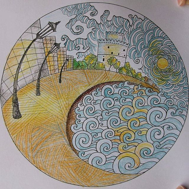 """From my book """"Greece: Colouring Book""""#λευκοςπυργος…"""