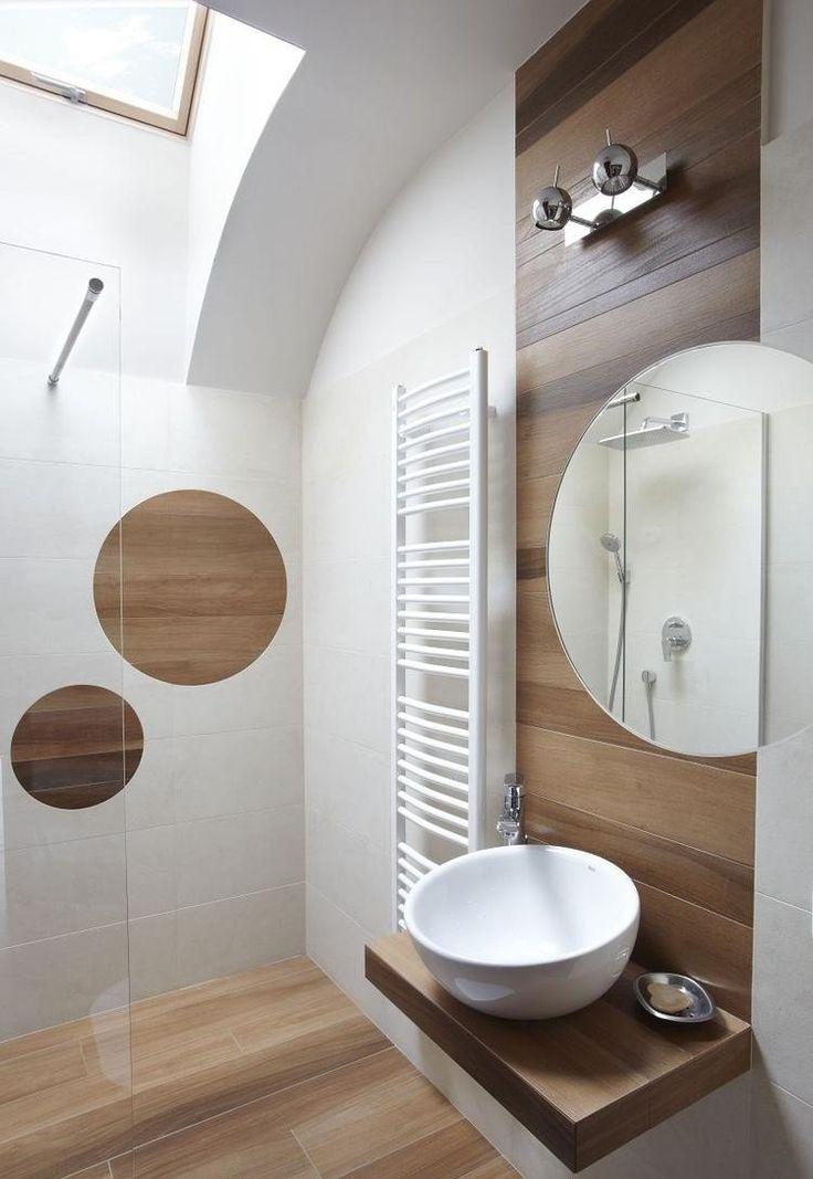 carrelage salle de bain aspect bois, paroi en verre et vasque ronde et blanche