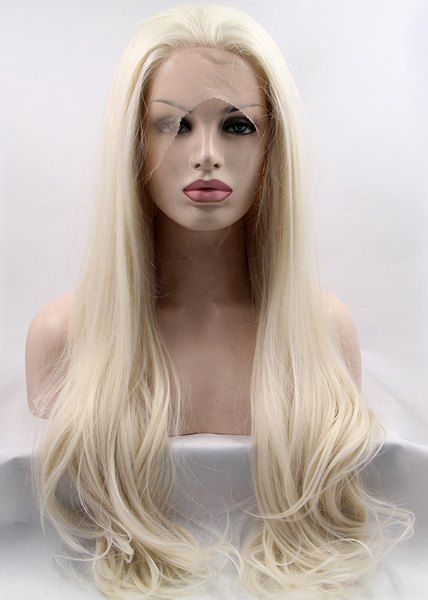 26 Inch Blonde White Mixed Long Wavy Lace Front Heat Resistant Synthetic Wig For Women