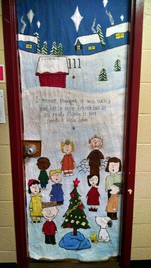 door decorations charlie brown christmas