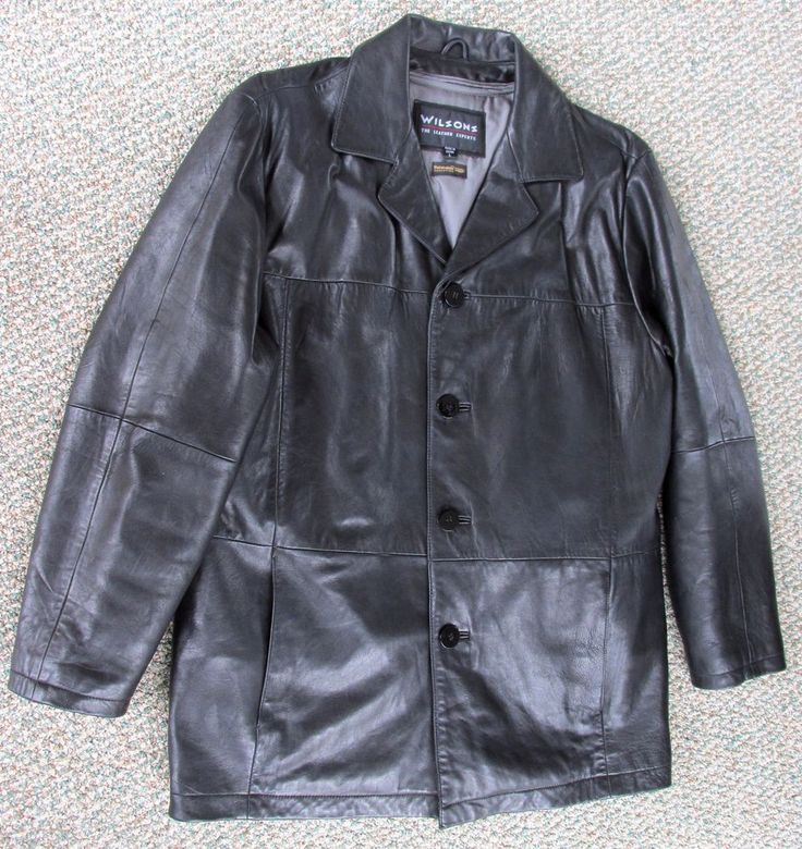 Mens Wilsons Leather Jacket Size L  Hipster  Thinsulate Lining Cell Phone Inside #Wilson #ContemporaryLeatherHipster