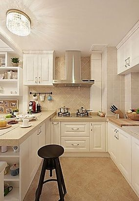 Modern l-shaped kitchen renovation renderings - InteriorPic