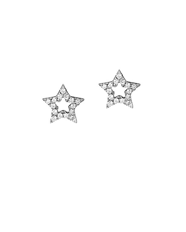 Jan Logan Star diamond and white gold earrings