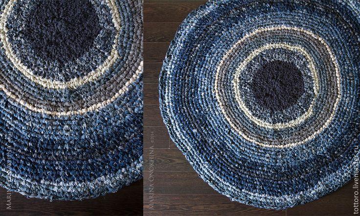 Купить Norrland - синий, деним, джинсовый стиль, джинса, ковер, Вязание крючком, вязание на заказ