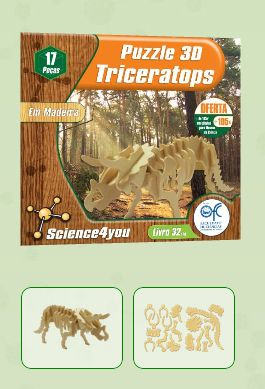 LIVRO + PUZZLE 3D - TRICERATOPS  Descobre: - Como e onde viviam os dinossauros - O que acontecia quando lutavam - Caracteristicas e curiosidades do Triceratops - As causas de extinção dos dinossauros
