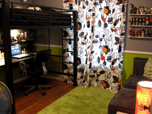 A Tween Boy Room -- Jonah loves the idea of painting the loft bed black. I like the idea of mostly grey walls with smaller amounts of green and orange.