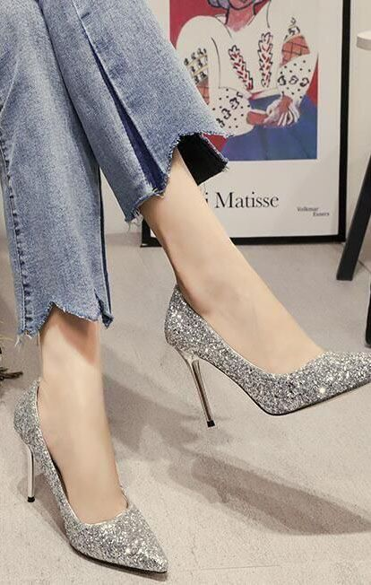 d97c89ae4eb Women's Sparkling Glitter High Heel Closed Toe Pumps Shoes (0919005 ...