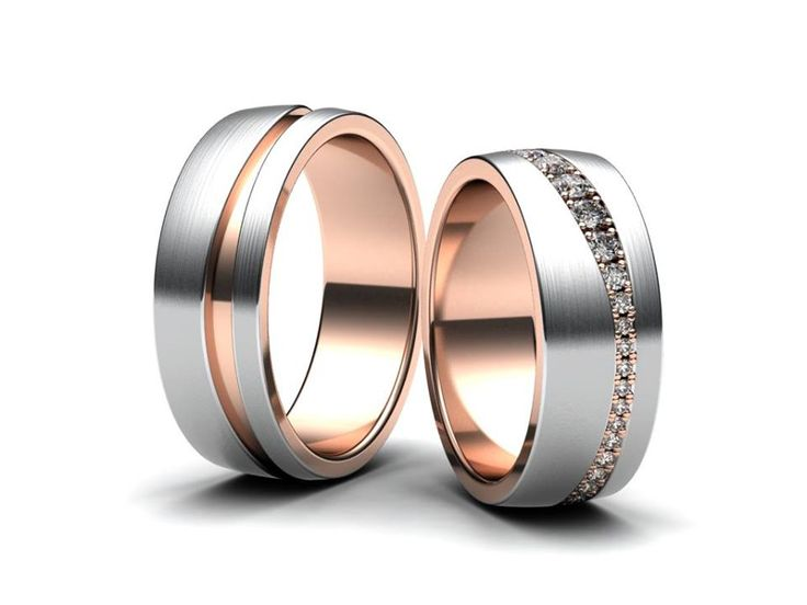 Snubní prsteny v kombinaci červeného a bílého zlata. Dámský prsten osazen kameny po celém obvodu.