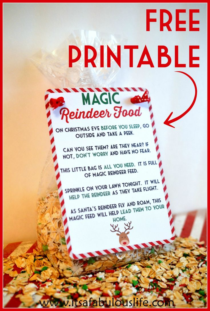 Magic Reindeer Food Poem & Free Printable.  Also includes the Reindeer Food recipe.