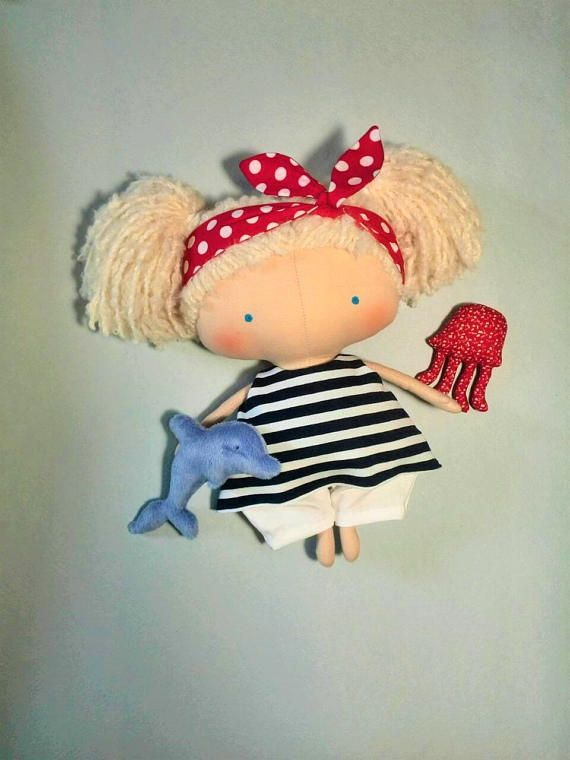 Gift for daughter Cute dolls Marine-style Fabric Rag doll