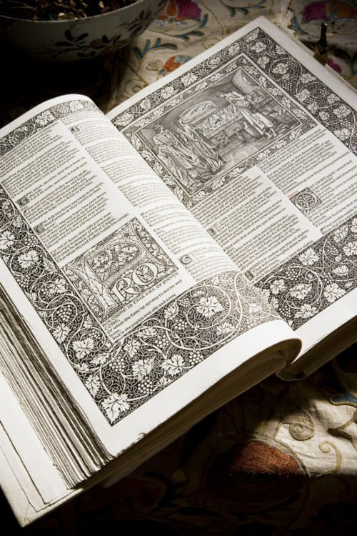 """Copy of the """"Kelmscott Chaucer"""" published by William Morris in 1896, his last major artistic project at Wightwick Manor"""