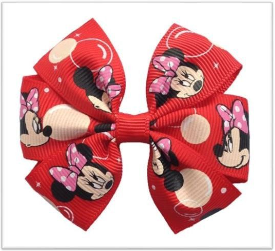 "3"" Boutique Red Minnie Mouse Pinwheel Hair Bows"