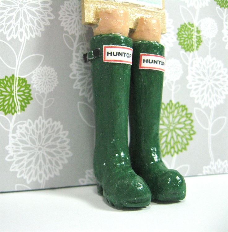 Green 'Huntor' Rain Boots.  Funky Bookmarks with Legs.