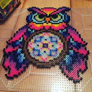 Rainbow owl --- perler beads