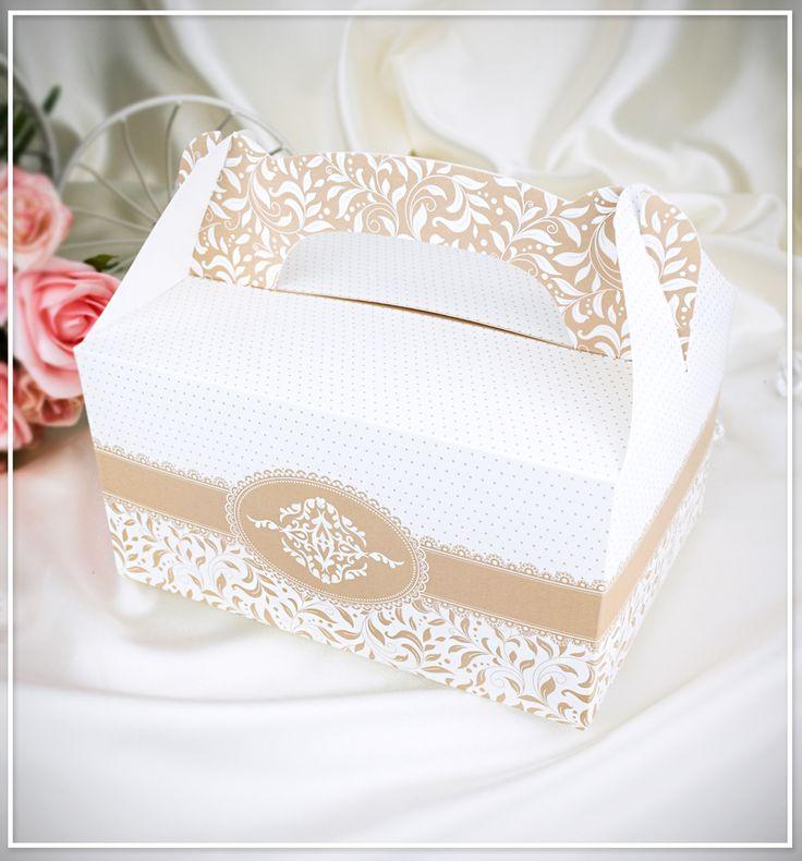 Svatební krabička na výslužku – bílá káva - K1007 : svatební oznámení - tradiční