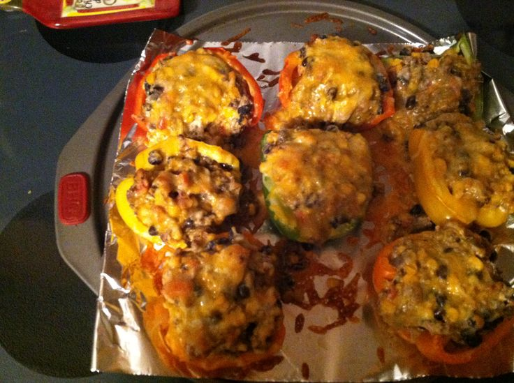 Stuffed bell peppers. 4 bell peppers (any color), 1 lb ground beef ...