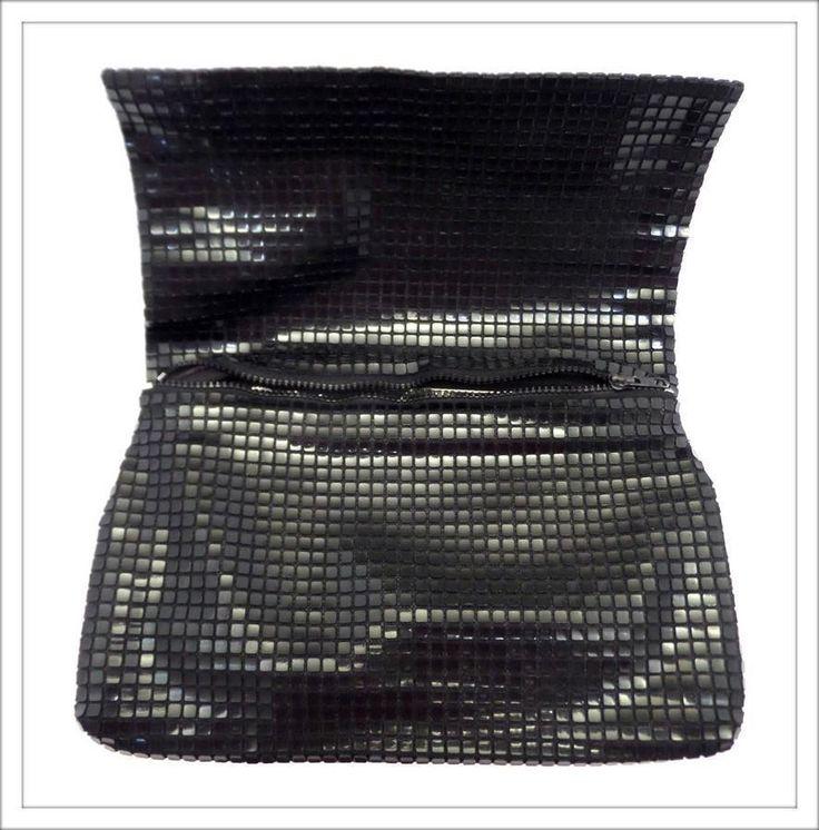 VINTAGE 80s BLACK SLOUCHY large CLUTCH evening BAG HANDBAG shiny plastic GRUNGE