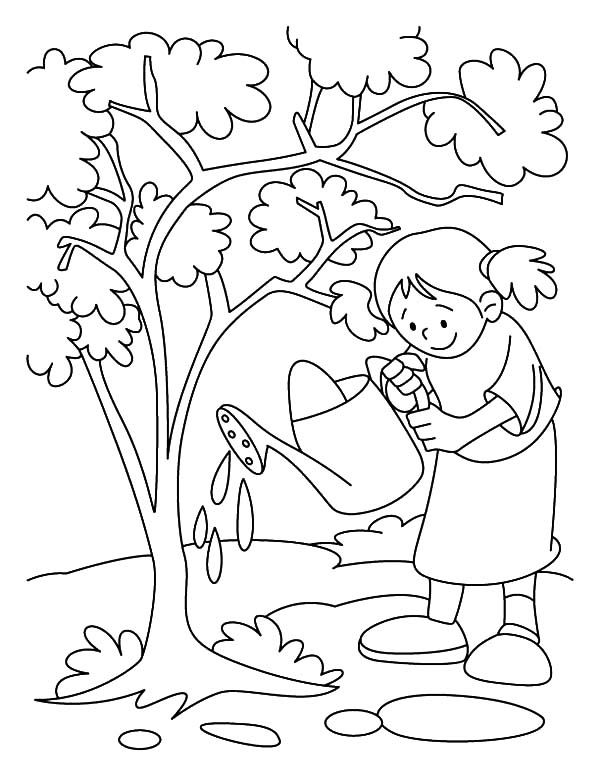 Girl Watering Her Tree on Arbor Day Coloring Pages