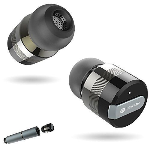awesome Rowkin Bit Stereo Bluetooth Headphones, True Wireless Earbuds w/ Mic. Smallest Cordless Hands-Free In-Ear Earphones Headsets with Portable Charger & Noise Reduction for Running & iPhone (Space Gray)