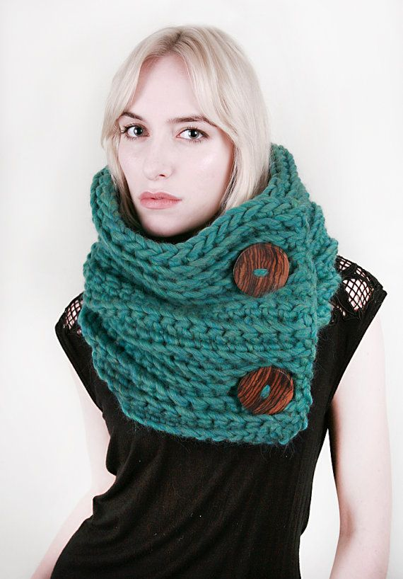 The Wool Roycroft Cowl in Blue-Green Heather 100% Ultra-Soft Wool (Choose your color!)