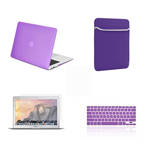 TOP CASE - 4 in 1 Bundle Deal Air 13-Inch Rubberized Hard Case, Keyboard Cover, Screen Protector and Sleeve Bag for MacBook Air 13