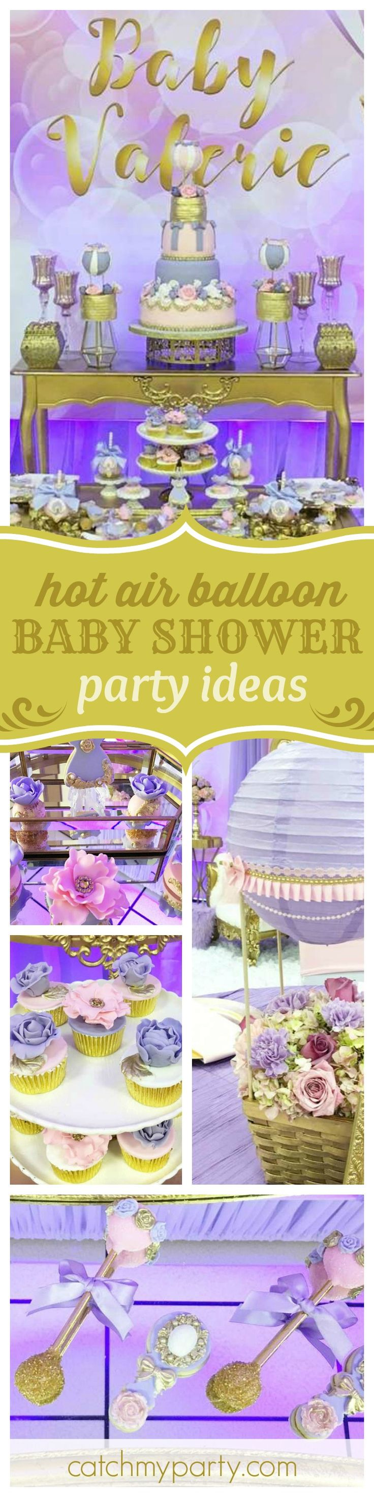 Fly away with this fantastic Hot Air Balloon Baby Shower. The cake is gorgeous!!  See more party ideas and share yours at CatchMyParty.com
