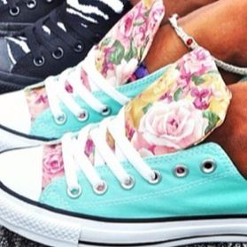 Floral/Teal Converse