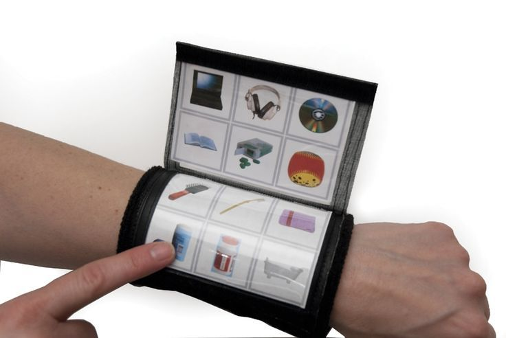 Flip and Communicate Wrist Wrap - handy to use out on the playground as an add-on to a primary aac system