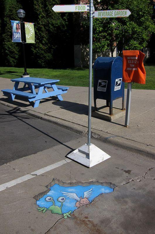 Sluggo's skyhole arrival  Ann Arbor Summer Festival Installations, 2012-2014 - David Zinn