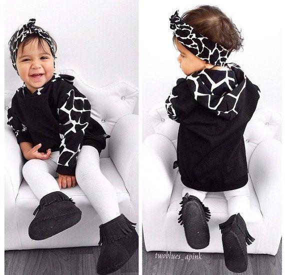 Giraffe print hoodie / baby hoodie / kids hoodie / black baby hoodie