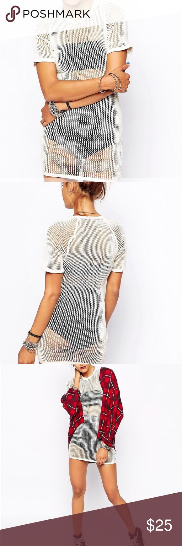 Vintage mesh longline tshirt Color is more of a light tan not white Asos Tops