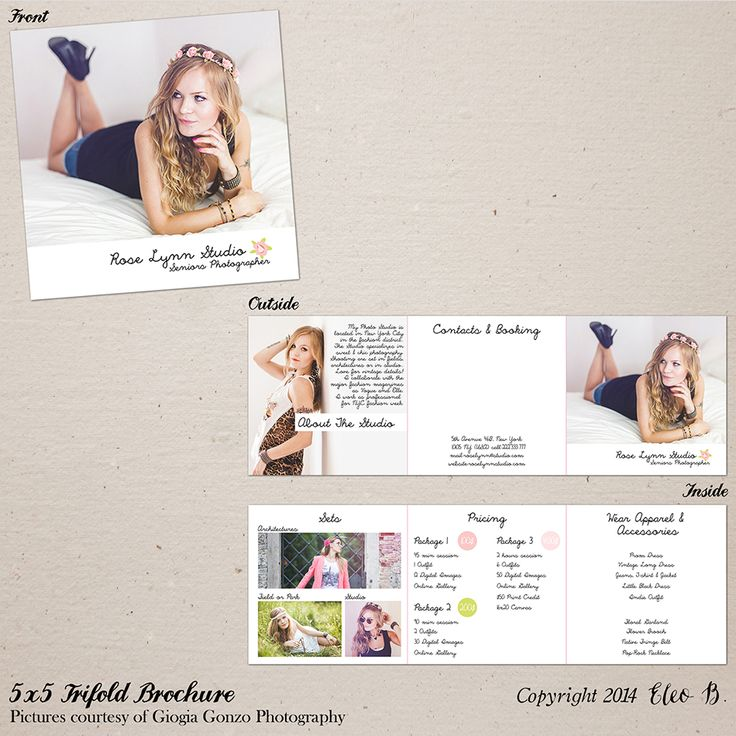 5x5 Trifold Brochure Template - Photoshop Template - M016 - instant download  SHOP AT: etsy.com/shop/eleob SEARCH WITH THE CODE   Pictures by Giorgia Gonzo Photography  Model Suzana