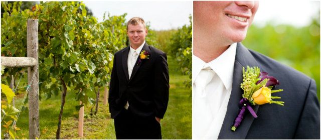 Unique groom's boutonniere from this wine themed #realwedding, check out the blog for full pics!
