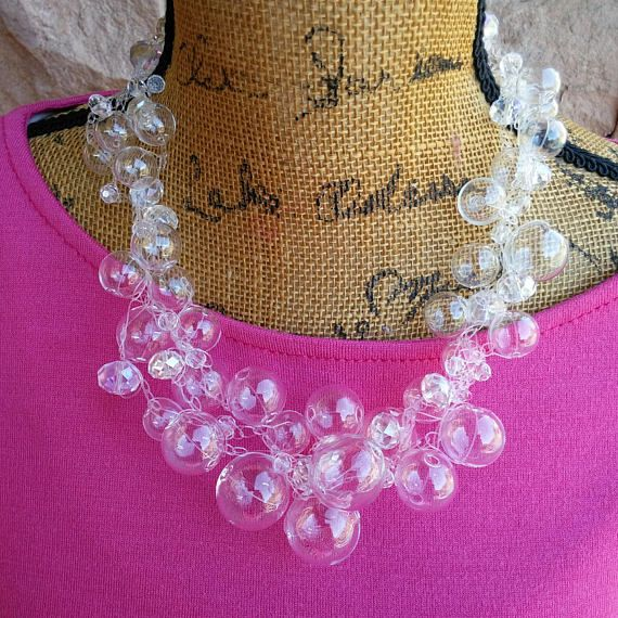 Please Pin if you like this new design! 👏👏👏  See What's New in the Bling Box!  Check out my 20% OFF Sale!!!! Use Code: 20OFF  Hand Blown Glass Crocheted Wedding Statement Necklace, Wedding Necklace, Bridal Necklace, Wedding Bib, Chanel in Bubbles! #bestbeadedbling