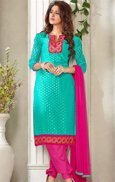Pleasing Sky Blue Color Indian Salwar Kameez