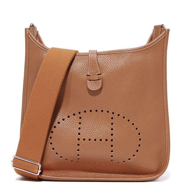 Pre-owned What Goes Around Comes Around Hermes Evelyne Messenger Bag... (43.042.380 IDR) ❤ liked on Polyvore featuring bags, messenger bags, brown, leather bags, genuine leather messenger bag, brown bag, brown leather bag and genuine leather bags