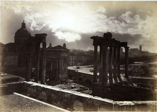 """Gioacchino Altobelli 1450 Roma. the Forum Romanum """"claire de lune"""" 1866 (ca)"""