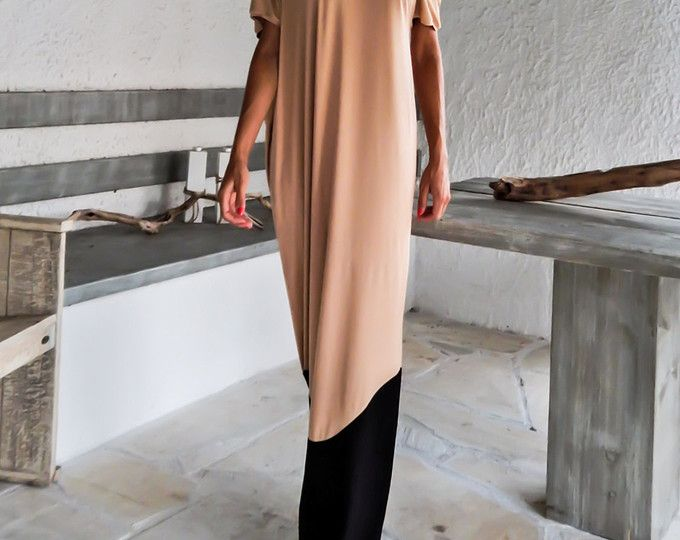 Viscose Maxi Dress / Beige Kaftan / Asymmetric Plus Size Dress / Oversize Loose Dress / #35002  This elegant, sophisticated, loose and comfortable maxi dress, looks as stunning with a pair of heels as it does with flats. You can wear it for a special occasion or it can be your everyday comfortable dress. - Handmade item  - Materials : viscose, strech cotton   * Viscose is a very soft strech fabric, thin, comfortable and it drapes beautifully.   * Strech cotton is a thicker option with a…