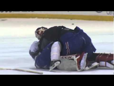 Carey Price fights Brandon Prust during Montreal Canadiens Practice. LOVE THESE TWO!!!!