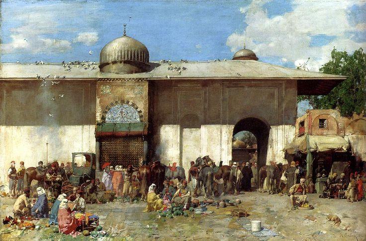 Alberto Pasini (1826-1899) - A Market Scene