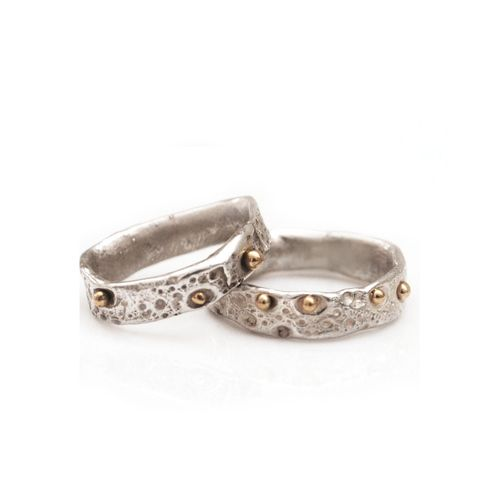set of textured wedding bands sterling silver and 18kt yellow gold - Contemporary Wedding Rings