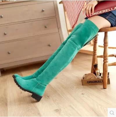 ==> [Free Shipping] Buy Best New Winter Fashion high boots wedge heel women boots super thin knee-high boots frosted female shoes thigh flat warm boots Online with LOWEST Price | 2035136681