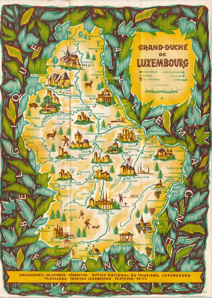 1952 Tourist Map Of Luxembourg By Pe L Schlechter All