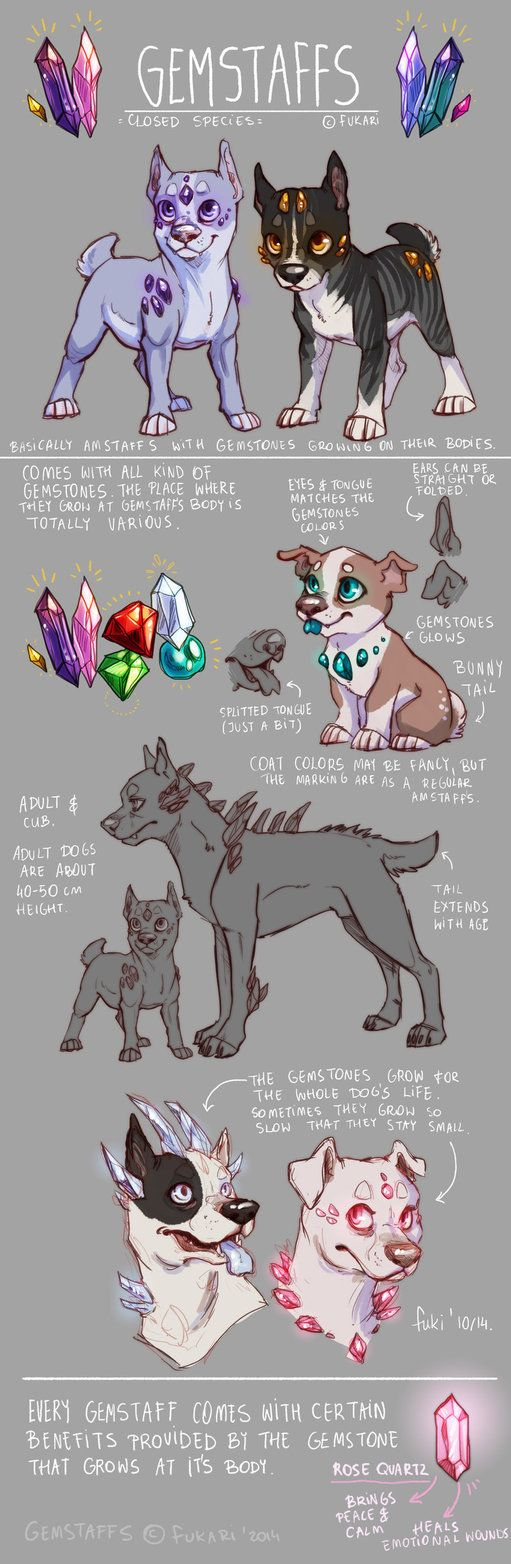 Reference sheet for my new species, made for adoptions I'll be posting some of these lovely fellas at this account, so keep an eye for updates! / I know that Gemstaffs are not the most original spe...