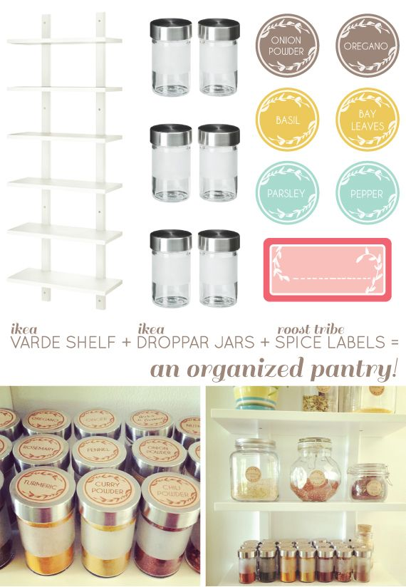 Going Home to Roost: an organized pantry with link to etsy printable labels and IKEA shelf storage idea.