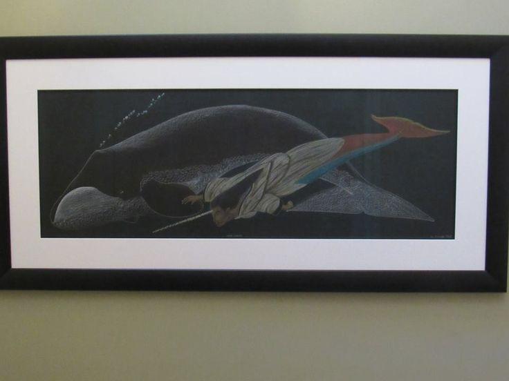 "Tim Pitsiulak original drawing framed entitled ""Edna's Giants"" diptych"