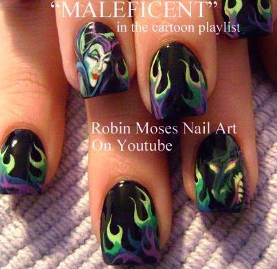 Learn face only here: Maleficent Nail ArtNail Art - Cartoons, Animals, Faces, Characters, Logos and more! Learn flames here: Neon Flames Nail Art Hot Nail Art Playlist! (Foil, Animal prints, Bling,
